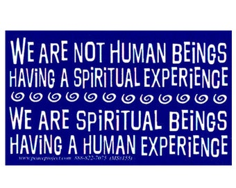 We Are Not Human Beings Having A Spiritual Experience. We Are Spiritual Beings Having A Human Experience - Small Sticker / Decal or Magnet
