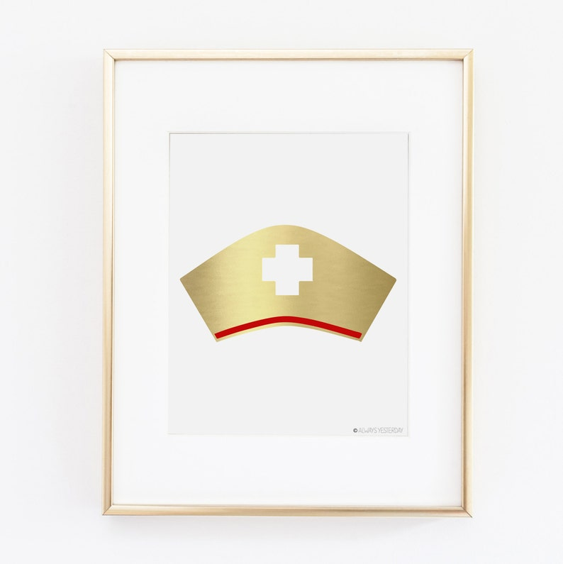 photograph regarding Printable Nurse Hat titled Gold and Pink Cross Nurse Hat Printable Wall Artwork Nursing College or university Commencement Celebration Decor Nurse Print Present RN Poster Healthcare facility Signal