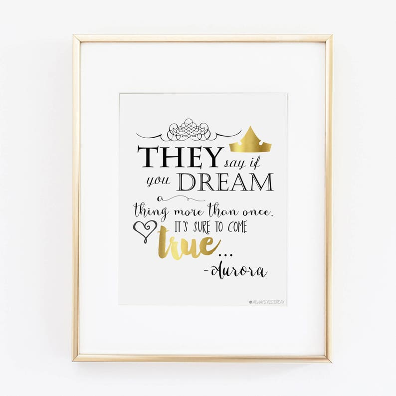 They Say If You Dream A Thing More Than Once Aurora Quote Etsy