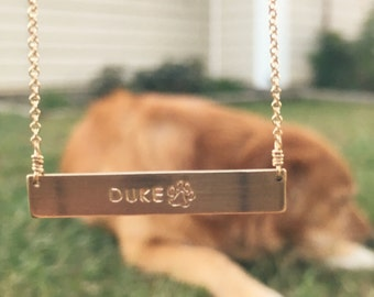 Horizontal Gold Bar Pet Necklace // Cable Chain
