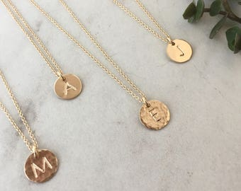 Small Initial Necklace // Cable Chain