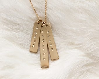 Personalized Gold Vertical Bar Necklace // Cable Chain