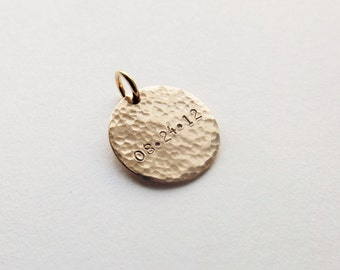 """5/8"""" Gold Hammered Date Charm"""