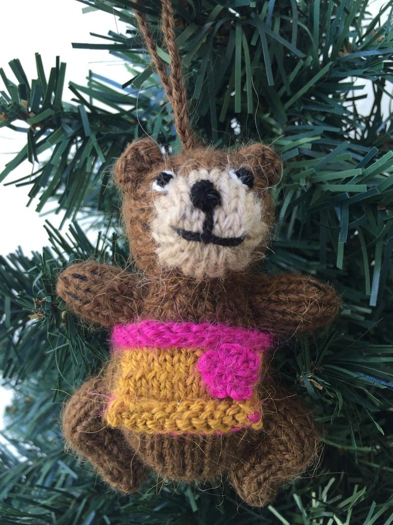 Handmade Knitted toy amigurumi merino wool owl scarf miniature plushes Christmas