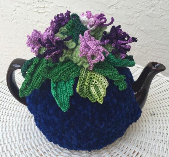 Häkeln Sie Tee gemütlich blauen Tee Deckel Blume Tee gemütlich | Etsy