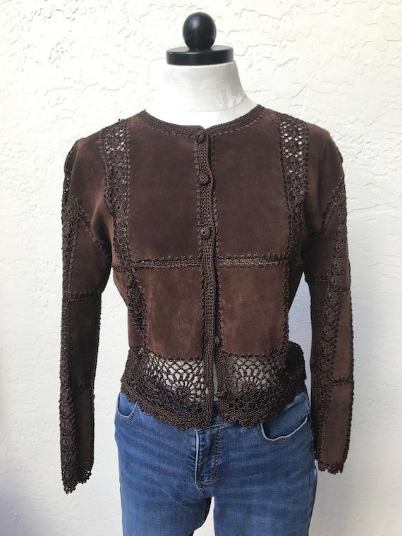 Retro Vintage suede leather crochet patchworks jac