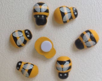 50 Adhesive Wooden Bumble-bee stickers Crafts 13x9mm Decoration Floral stickers Garden ornament  Home decoration Crafts Supply Scrapbooking
