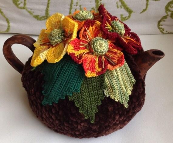 Häkeln Sie Tee gemütlich braun Tee Abdeckung Herbst Tee | Etsy