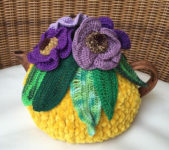 Häkeln Sie Tee gemütlich Gelber Tee Abdeckung lila Blüten Tee | Etsy