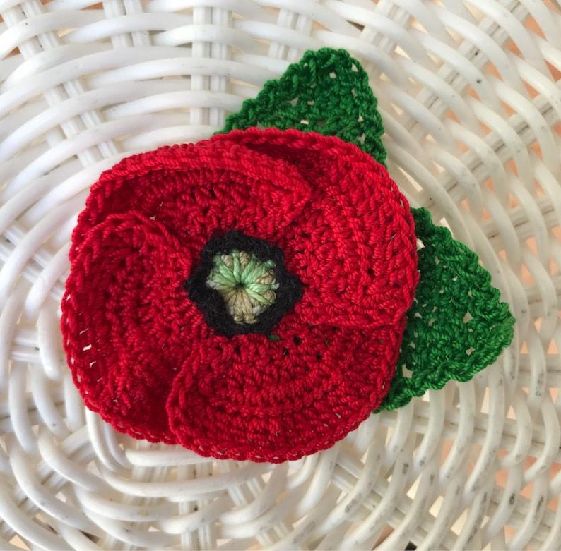 Crochet Red Poppy Flower Brooch Red Poppy Pin Veterans Day Etsy