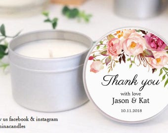 Personalised soy candles for wedding favours in vintage floral design. Birthday favors and thank you gifts  sc 1 st  Etsy & Thank you gifts | Etsy