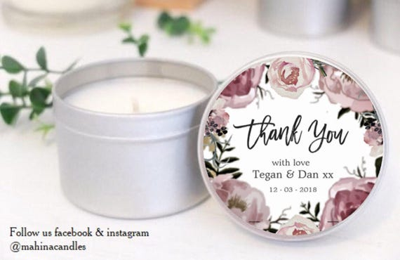Purple Floral Soy Candle Tins Thank You Gifts For Weddings Etsy