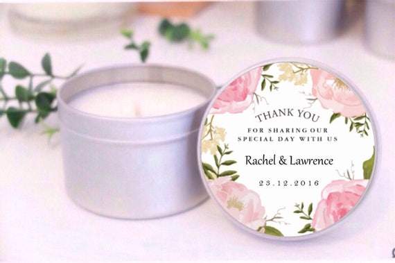 Wedding Bomboniere Gifts: Pink Floral Custom Soy Candle Wedding Favours / Bomboniere