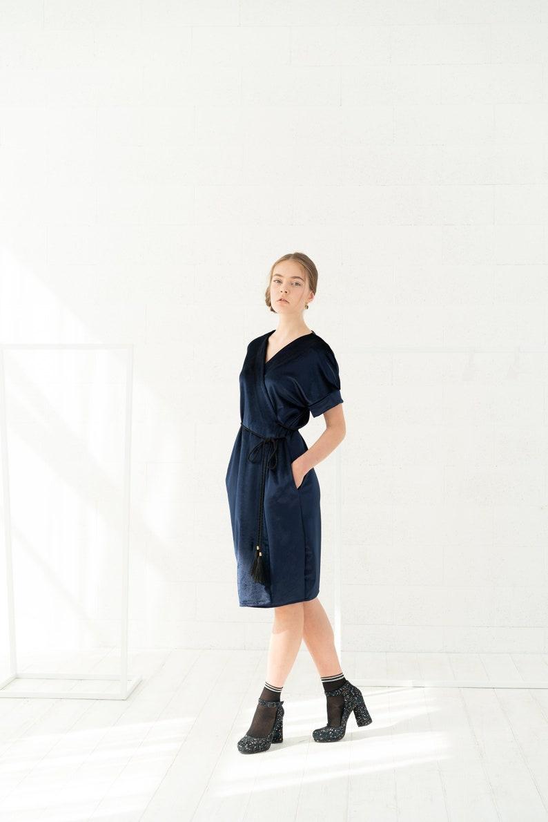 7322284e24 Plus Size Dress Dark Blue Dress V Neck Dress Knee Length | Etsy