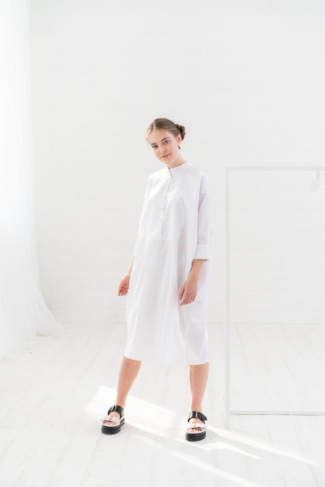 White Midi Dress White Plus Size Dress Women White Dress Etsy