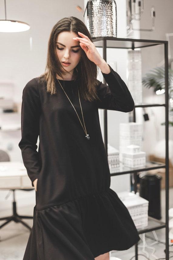 Black Dress, Wool Dress, Wool Clothing, Elegant Dress, Winter Clothing, Long Sleeve Dress, Women Dress, A Line Dress, Trendy Dress