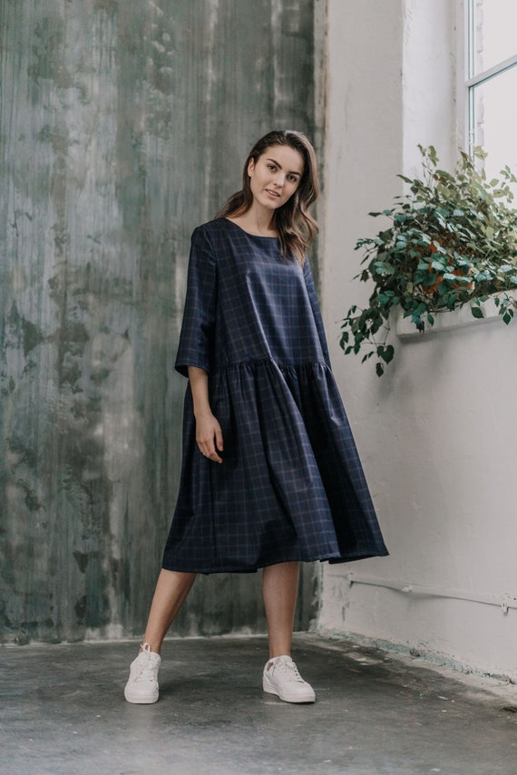 Womens Dress, Plus Size Clothing, Wool Dress, Oversized Dress, Plaid Dress,  Tartan Dress, Loose Dress, Plus Size Dress, Knee Length Dress