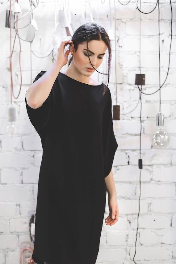 Black Dress Little Black Dress Minimalist Dress Knee Length Etsy