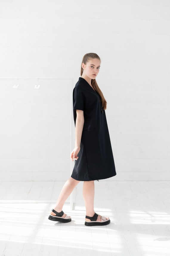 Plus Size Dress, Black Midi Dress, Plus Size Clothing, Black Wool Dress,  Wool Clothing, Winter Dress, Short Sleeve Dress, Oversized Dress