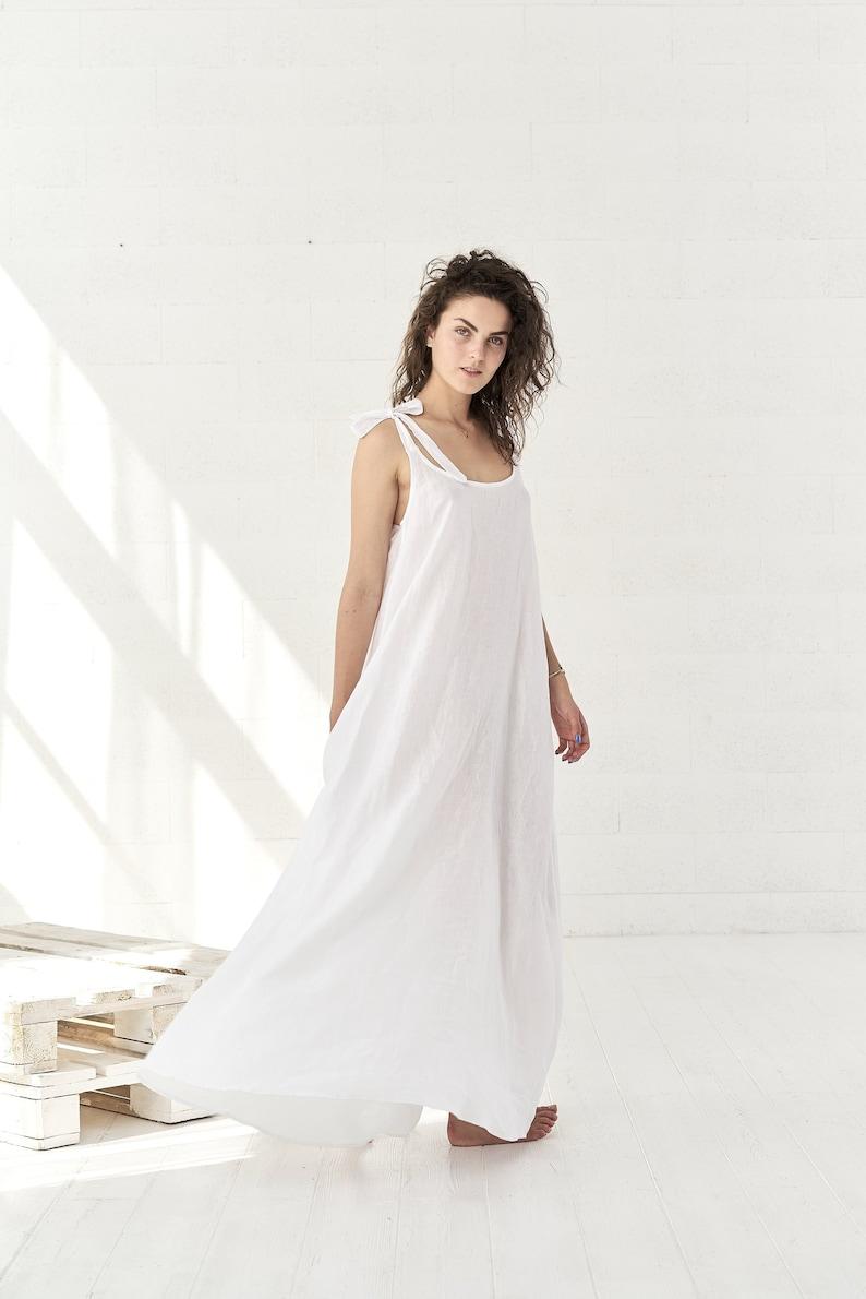 White Linen Maxi Dress Boho Wedding Dress Linen Clothes Plus Size Linen Dress White Linen Dress Bohemian Clothing Alternative Wedding