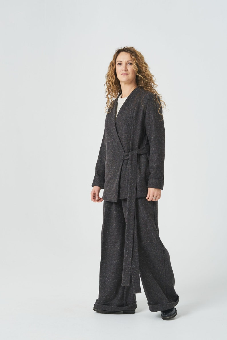 Loose Pants Elegant Set Worsted wool pantsuit for women Wide Leg Pants Minimalist Clothing Wool Blazer Wool Jacket