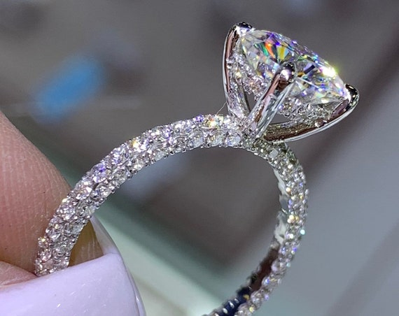 14 Karat White Gold Diamond Under Halo Wedding Ring w/ Round Brilliant Forever One Moissanite Engagement Ring Promise Ring Anniversary Ring
