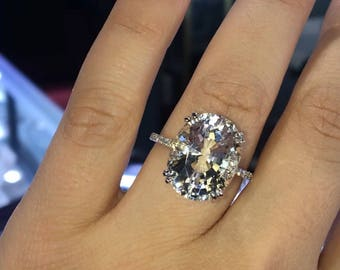 14 Karat White Gold Diamond Oval Shape White Topaz Under Halo Wedding Ring Engagement Ring Promise Ring Anniversary Ring White Gold Yellow