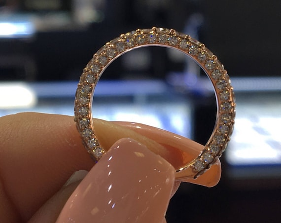 14K Rose Gold 3/4 Eternity Diamond Band Stackable Ring Wedding Band Pave Ring Pave Setting Yellow Gold Rose Gold Platinum 18K