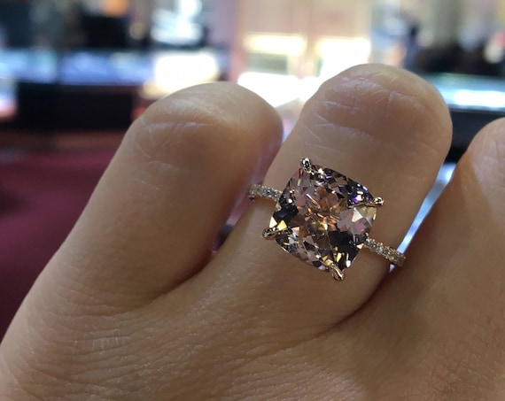 14 Karat Rose Gold Diamond Cushion Cut Morganite Double Under Halo Wedding Ring Engagement Ring Promise Ring Anniversary Ring