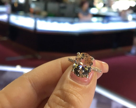 14 Karat Rose Gold Diamond Oval Shape Morganite Under Halo Wedding Ring Engagement Ring Promise Ring Anniversary Ring White Gold