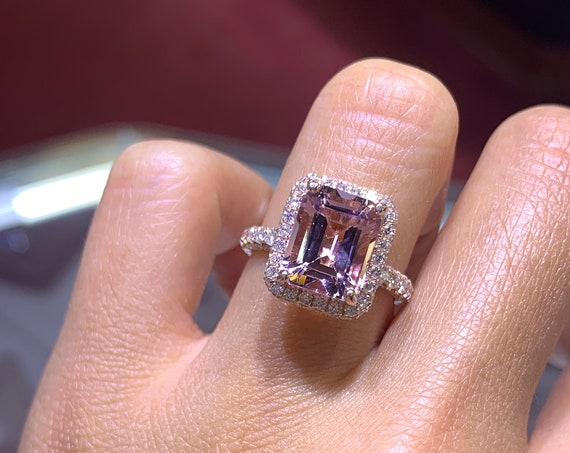 14K Rose Gold Natural Morganite Diamond 2D Halo Ring Emerald Cut w/ 3D Band Shape Art Deco Antique Engagement Ring Ring Promise White Gold