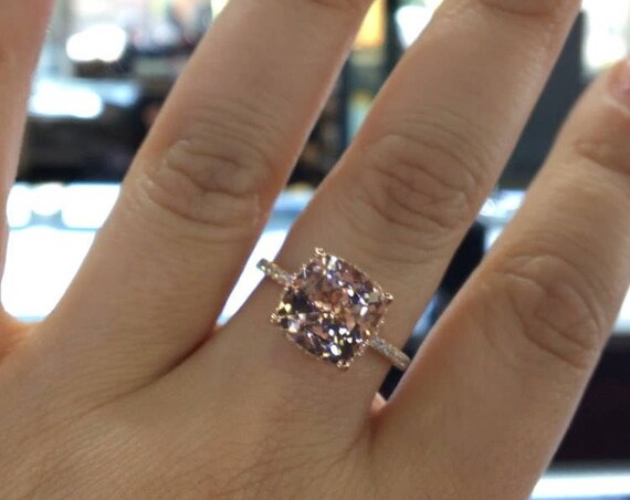14 Karat Rose Gold Diamond Cushion Cut Shape Morganite Under Halo Wedding Ring Engagement Ring Promise Ring Anniversary Ring White Gold