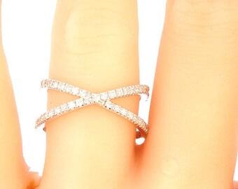 16f3386f9 14k White Gold Diamond X Band Criss Cross Ring Wedding Ring Fashion Ring  Right Hand Ring Anniversary Band Split Shank Yellow Gold Rose Gold