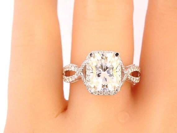 18K White Gold Diamond and 9MMx7MM Radiant Forever Brilliant oissanite Engagment Ring Wedding Ring Anniversary Ring Art Deco Infinity Ring