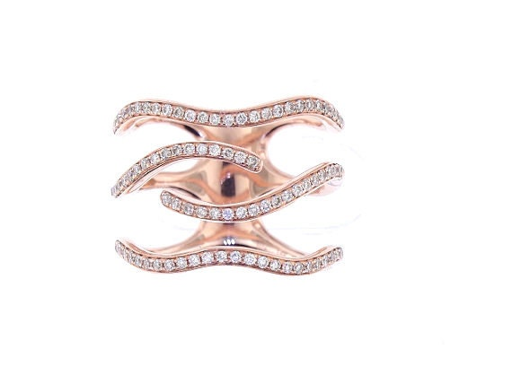 14K Rose Gold Diamond Fashion Band Right Hand Ring Stackable Band Bar Ring Art Deco Design Anniversary Ring Yellow Gold White Gold