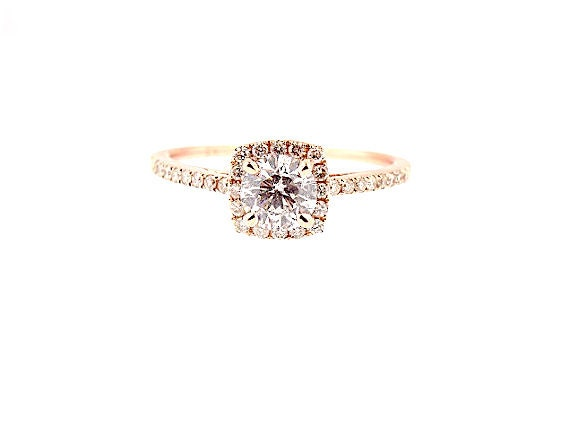 14K Rose Gold Round Diamond Halo Engagement Ring Wedding Ring Anniversary Ring Classic Halo Solitaire Art Deco Ring Yellow Gold White Gold