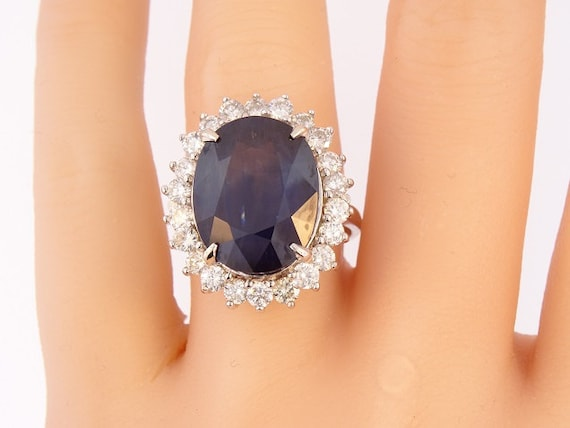 14K White Gold Diamond and Natural Oval Shape Sapphire Ring Anniversary Ring Birthstone Ring Princess Diane Ring Yellow Gold White Gold