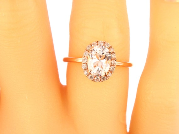 14K Rose Gold Diamond Oval Shape Diamond Engagement Ring Wedding Ring Art Deco Ring Antique Promise Ring Classic Halo Yellow Gold White Gold
