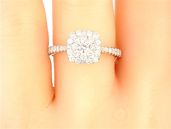 14K White Gold Cushion Cut Cluster Diamond Engagement Ring Wedding Ring Anniversary Ring Art Deco Ring Antique Ring Yellow Gold Rose Gold