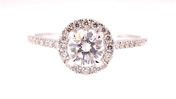 14K White Gold Round Brilliant Halo Cluster Engagement Ring Art Ring Antique Wedding Ring Promise Ring Bridal Ring Solitaire Ring Rose Gold