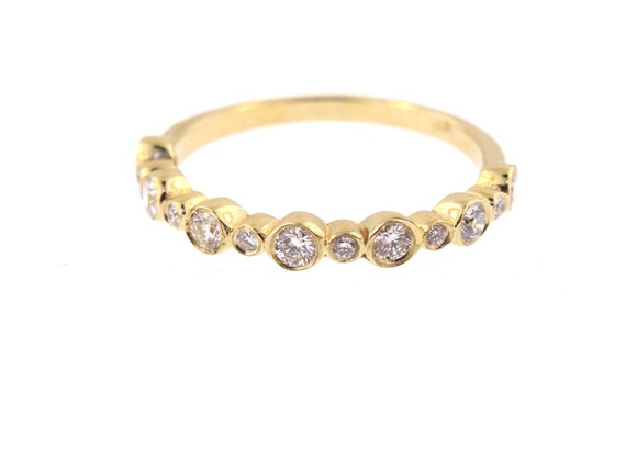 14K Yellow Gold Bezel Set Half Eternity Band Stackable Band Wedding Band Anniversary Band Promise Ring Rose Gold White Gold Art Deco 18K