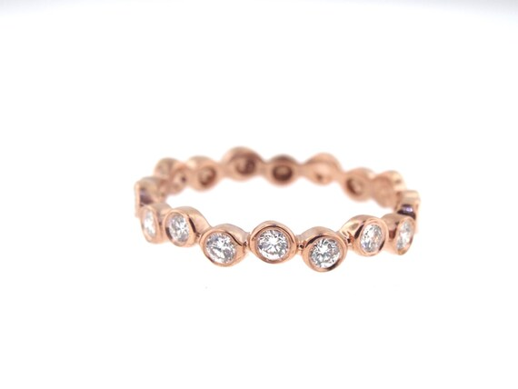 14K Rose Gold Bezel Set Diamond Band Anniversary Band Wedding Band Stackable Band Promise Ring Yellow Gold White Gold Rose Gold Fashion 18K