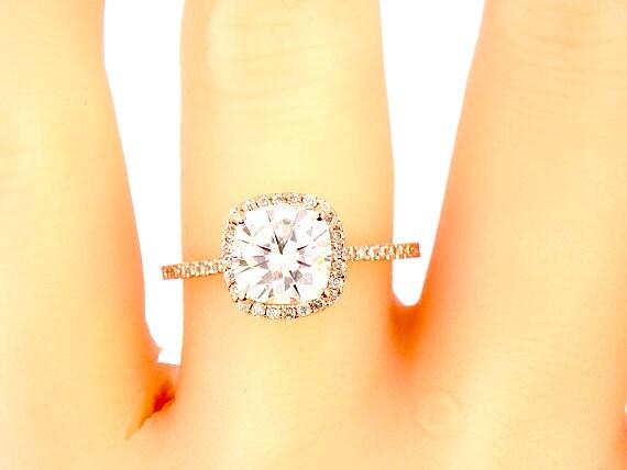 14K Rose Gold Diamond Halo 7MM Cushion Cut Forever Brilliant Engagement Ring Wedding Ring Promise Ring Yellow Gold White Gold Platinum 18K