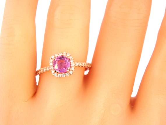 14K Rose Gold Cushion Cut Pink Sapphire Diamond Halo Engagement Ring Wedding Ring Anniversary Ring Promise Solitaire Ring Alternative Ring