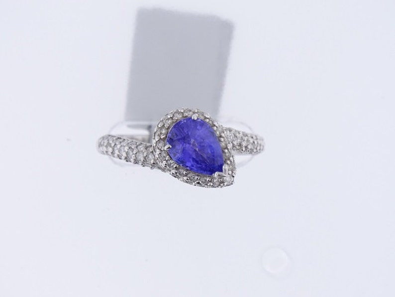 14K White Gold Diamond Pear Shape Tanzanite Halo Ring Wedding image 0