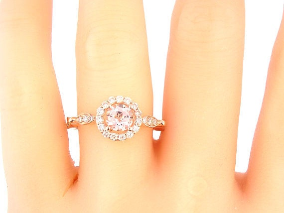 14K Rose Gold Round Brilliant Morganite & Diamond Halo Engagement Ring Anniversary Ring Wedding Ring Art Deco Ring Antique Ring White Yellow