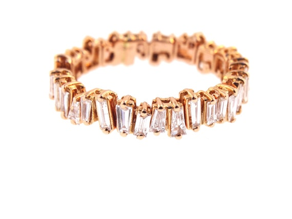 14K Rose Gold Art Deco Diamond Baguette Band Wedding Band Anniversary Band Antique Band Stackable Band Promise Band White Gold Yellow Gold