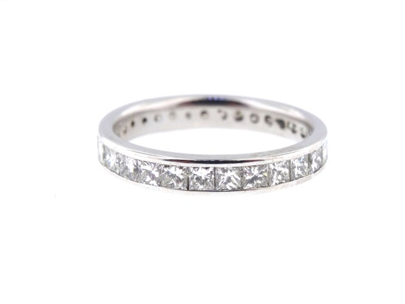 14K White Gold Princess Cut Eternity Diamond Band Anniversary Wedding Band Stackable Band Promise Ring Rose Gold Yellow Gold Platinum 18K