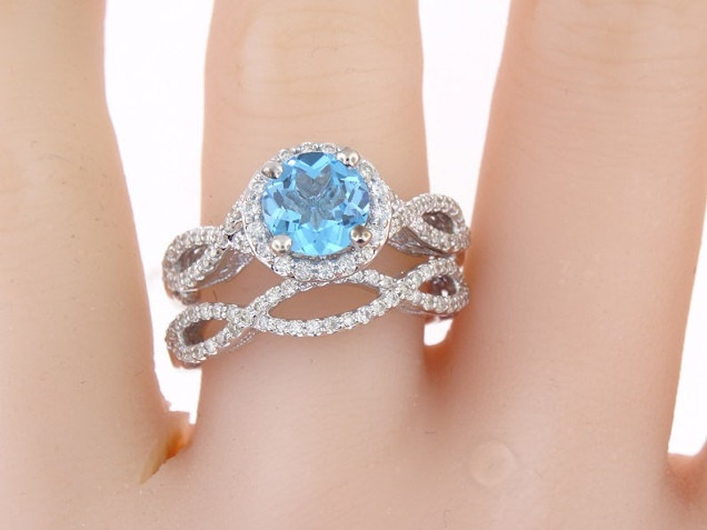 14K White Gold Diamond and Natural Blue Topaz Halo Wedding Set image 0