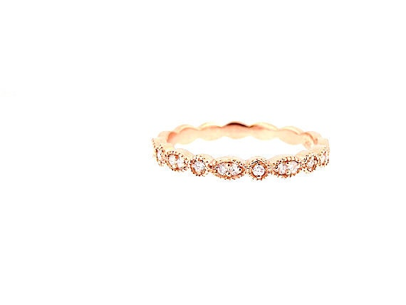 14K Rose Gold Art Deco Diamond Band Wedding Band Anniversary Band Antique Band Stackable Band Promise Band Engagement Yellow Gold White Gold